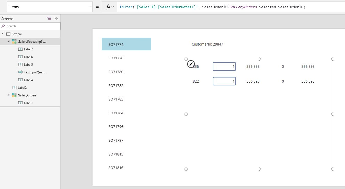 PowerApps: Repeating section with editing – Giacomo